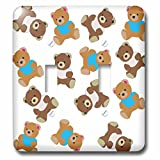Florene Décor III - Image of Adorable Teddy Bear Toss Pattern - Light Switch Covers - double toggle switch (lsp_243611_2)