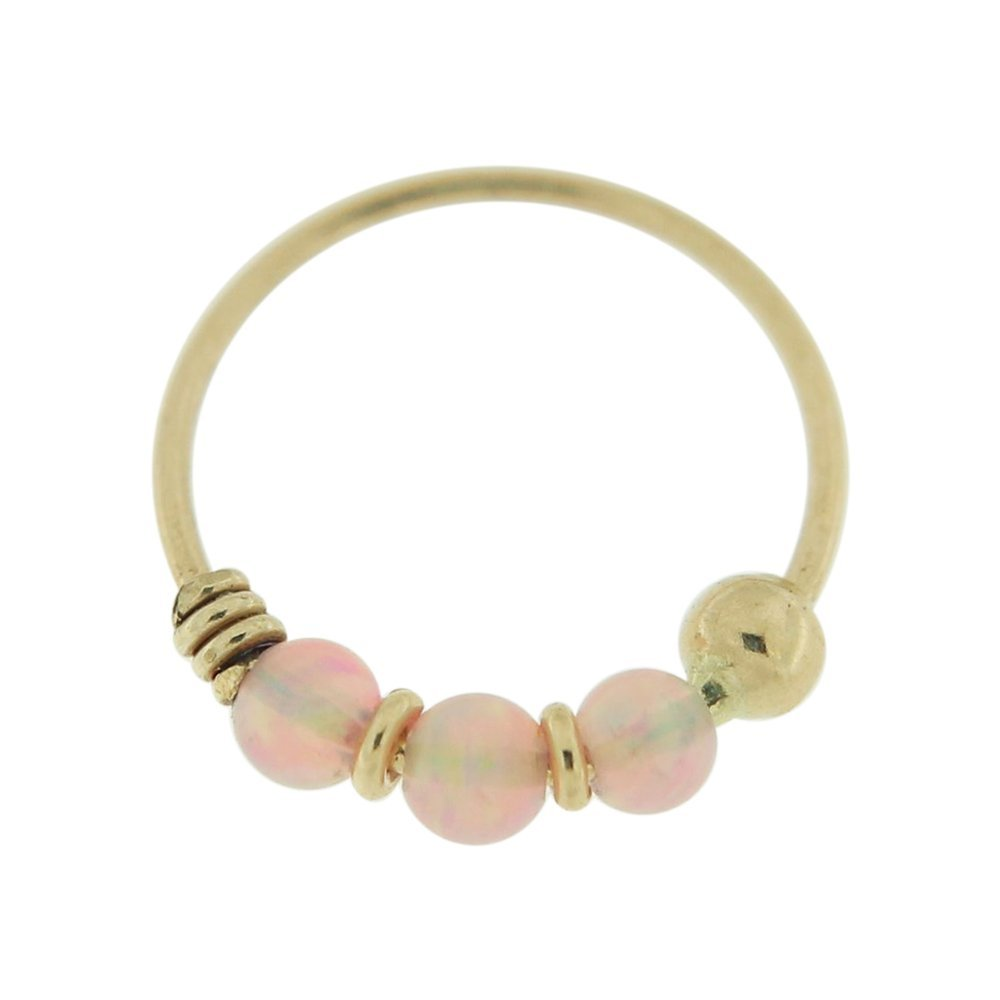 PiercingPoint 9KT Solid Yellow Gold Triple Pink Opal Stone 22 Gauge (0.6MM) - 5/16 Inch (8MM) Length Hoop Nose Ring by PiercingPoint