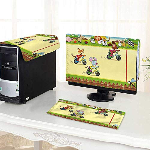 - Jiahonghome Desktop Computer Cover 3 Pieces Racing Mouse Cat and Dog on The Bike in with Comic Caricature Scratch Resistance /19
