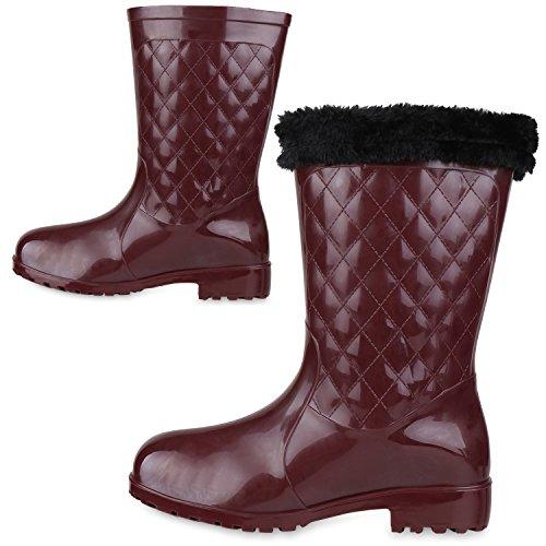Rockige Damen Stiefeletten Gummistiefel Profilsohle Wasserdichte Boots Stiefel Gumistiefeletten Lack Damenschuhe Nieten Flandell Dunkelrot Kroko