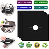 """Gas Stove Burner Covers- Non-stick Stovetop Burner Liners- Gas Range Protectors for Kitchen- Size 10.6"""" by 10.6"""" - Reusable Double Thickness 0.2mm- Dishwasher Safe - 4 Pc - Black"""
