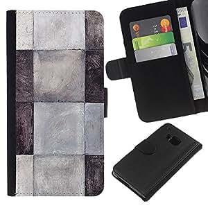 KingStore / Leather Etui en cuir / HTC One M9 / Patrón Azulejos Negro Blanco Gris Limpio
