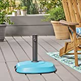 Great Deal Furniture Leon Outdoor 59.5lb Concrete Circular Umbrella Base with Aluminum Collar, Teal