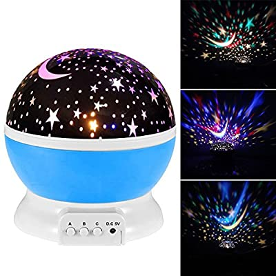 Star Projector Night Light 360 Degree Rotation Ceiling Projection Starry Night Light Lamp for Kids Women Men Best Gift with USB Cable