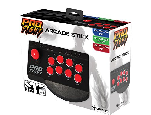 Subsonic SA5416, Arcade Stick, Multi-Platform Fighting Stick for PS4, PS4 Slim, PS4 Pro, Xbox One, Xbox One S and PS3 by Subsonic