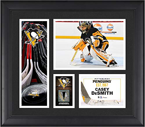 """Casey DeSmith Pittsburgh Penguins Framed 15"""" x 17"""" Player Collage with a Piece of Game-Used Puck - NHL Player Plaques and Collages"""