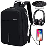 Bikunana Travel Anti Theft Laptop Backpack, Business Laptop Backpack with USB Charging Port & Headphone Interface For College Student For Women Men Fits 15.6 inch Notebook