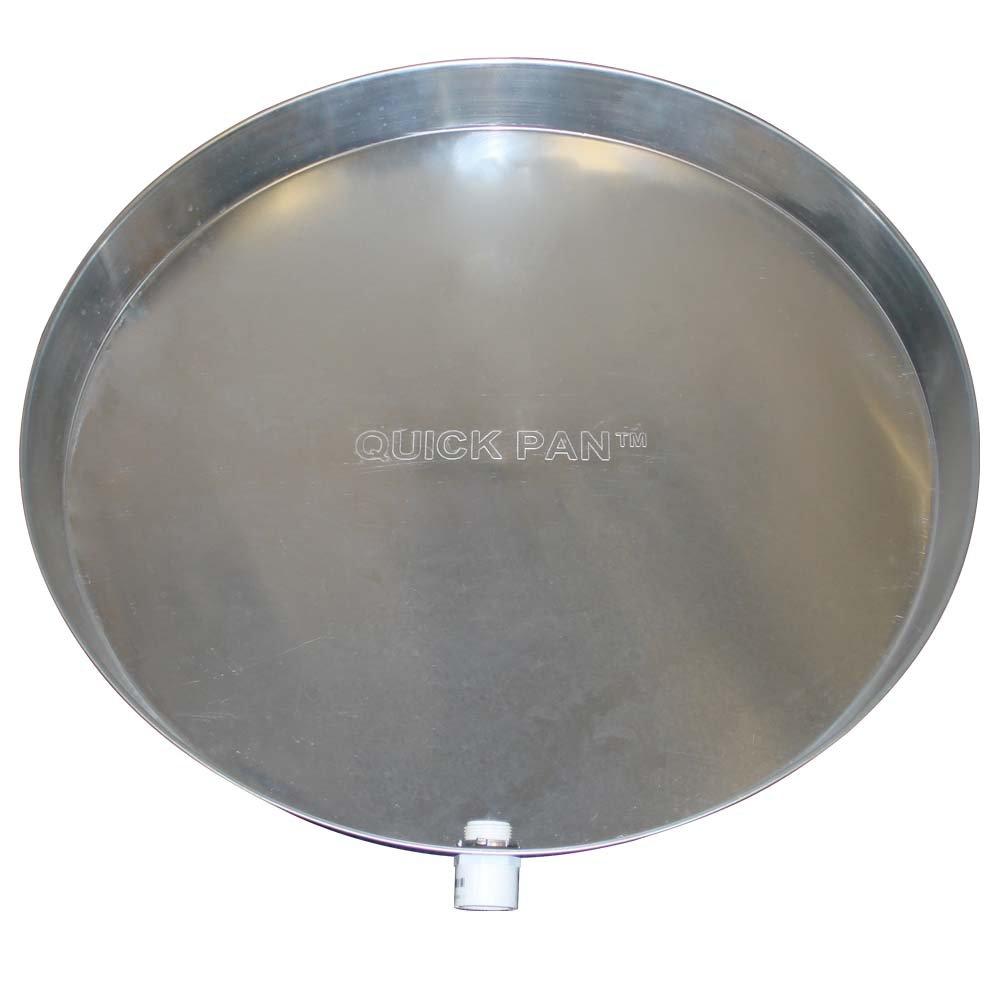 QuickPan Aluminum Pan Drip Tray QP-28 Holdrite Water Heater Drain Pan 1-Inch PVC Drain Fitting 28-Inch Diameter