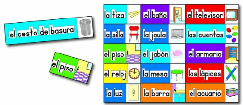 Print Rich Classroom Labels - Carson Dellosa Print-Rich Classroom Labels: Spanish Bulletin Board Set (3440)