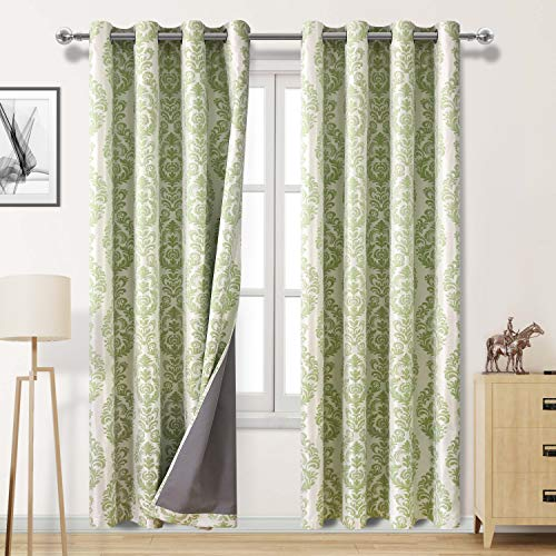 DWCN Faux Linen 100% Blackout Curtains with Thermal Back Coating - Insulated Floral Jacquard Damask Curtains for Living Room and Bedroom, 52 x 84 inch, Set of 2 Green Curtain Panels ()
