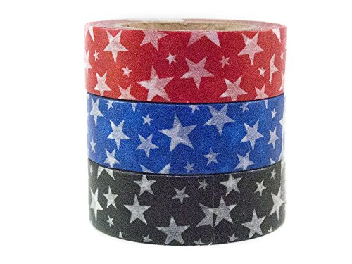 Japanese Washi Masking Tape by Minas Crafts, 0.6 Inches Wide, 32.8 Feet Long, Set of 3 - Star Power 1