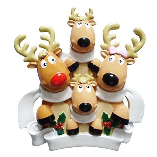 PERSONALIZED CHRISTMAS ORNAMENTS FAMILY KIT-REINDEER FAMILY 4 W/SCARVES KIT - Personalized Reindeer Family Ornament