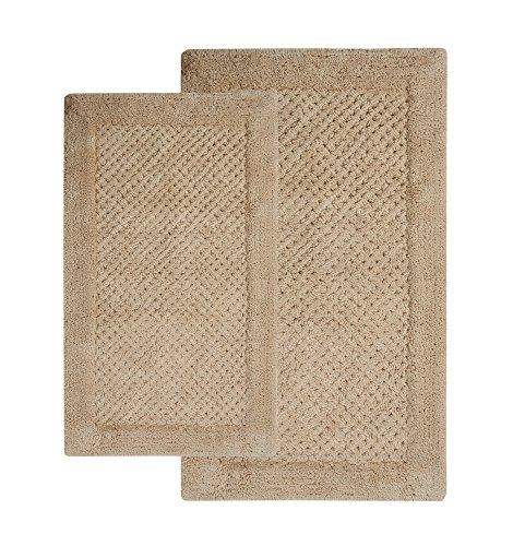 Saffron Fabs 100% Soft Cotton, 2 Piece Set, 34x21 and 36x24 Inch, Color Beige, GSF 180, Pattern Waffle Bath Rug by Saffron Fabs