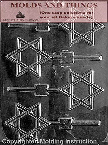STAR OF DAVID Chocolate Candy Mold With Copywrited molding Instructions - Set of 3