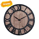 Hunter Farmhouse Rustic Barn Vintage Bronze Metal & Solid Wood Noiseless Big Oversized Wall Clock (Wood, 18x18x1 inch)