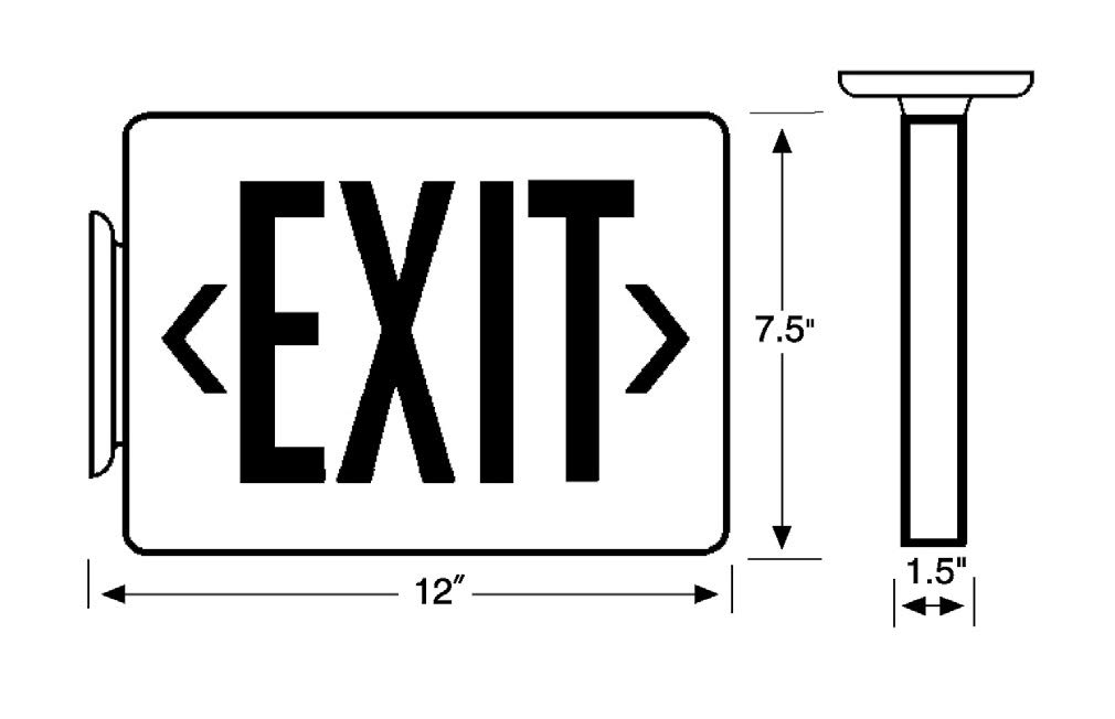 NICOR Lighting LED Emergency Exit Sign EXL1-10-UNV-WH-G-2 White with Green Lettering