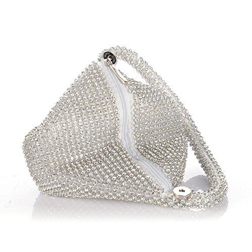 Jian Ya Na Fashion Women Rhinestone Trihedral Clutch Evening Bag Bling Zipper Wedding Purse (Silver) by Jian Ya Na (Image #4)