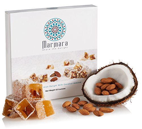 Turkish Delight with Coconut Almonds Marmara Sweet Confectionery Gourmet Box Candy Dessert Large 8.8 ounce -