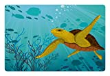 Ambesonne Turtle Pet Mat for Food and Water, Cartoon Cute Animal Under the Sea Silhouettes of Fish Sun Rays Coral, Rectangle Non-Slip Rubber Mat for Dogs and Cats, Turquoise Mustard Brown