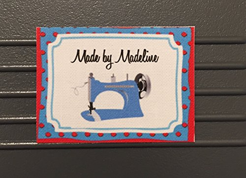 45 Pre Cut Custom Iron on Flat Sewing Labels in Color Ink with Polka dot Frame and Blue Sewing Machine GraphicMade in USA