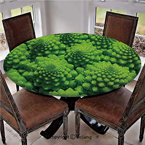 Elastic Edged Polyester Fitted Table Cover,Broccoli Kale Mother Earth Herbs Themed Fractal Background Foliage Modern Design,Fits up 45