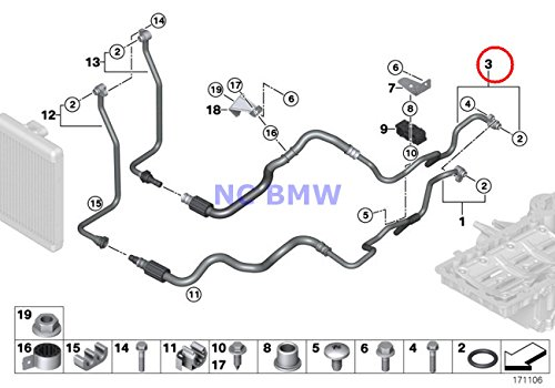BMW Genuine Engine Oil Cooler Pipe Return Engine Oil Cooler Pipe X5 50iX X6 50iX