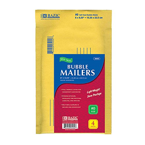 "BAZIC 6"" X 9.25"" (#0) Self-Seal Bubble Mailers (4/Pack) (Case of 24)"