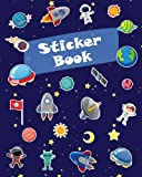 Sticker Book: Space Rockets Planets Icons Blank Sticker Book for Boy Collection Notebook Page Size 8x10 Inches 80 Pages Children Family Kids Activity Book (Ultimate Sticker book)