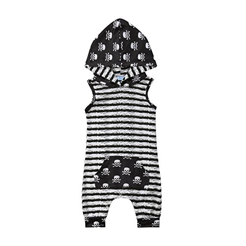 beBetterstore Newborn Baby Hooded Romper,Boy Girl Sleeveless Striped Skull Print Jumpsuit Outfit Clothes,Black and White