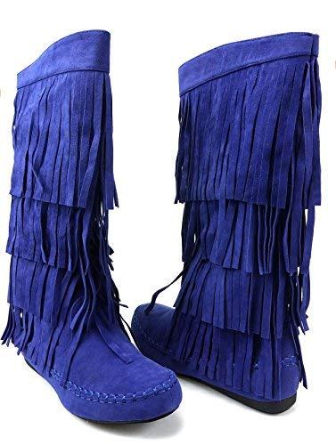 AXNY Mudd 55 Womens 4 Layer Fringe Moccasin Mid-Calf Boots Rust Yoki (8.5, Blue) ()