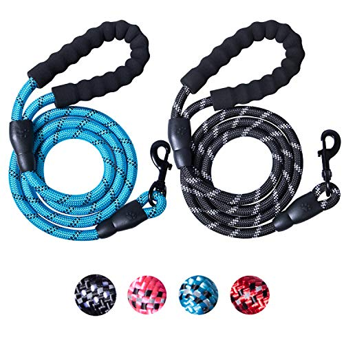 2 Packs 5 FT Strong Rope Dog Leash with Comfortable Padded Handle and Highly Reflective Threads for Small Medium Large -