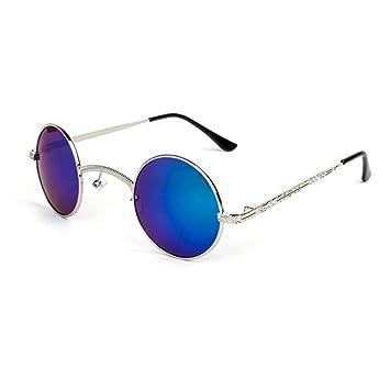 Aoligei Steampunk gothique lunettes de soleil rétro rond cadre cadre métallique mâles et femelles lunettes de soleil-prince 0G7Ukg