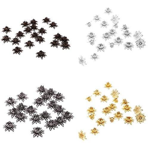 MonkeyJack Lotus Flower Bead End Caps - Jewellery Making Findings for Earrings,Bracelets ,Necklaces (80PCs (16mm) - Lotus Flower Bead