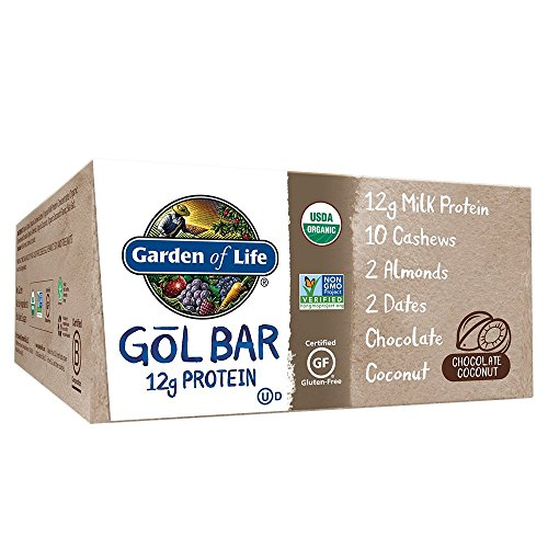 Garden of Life Organic GOL Bars – Chewy High Protein Whole Food Bar – Chocolate Coconut (12 per Carton)   Certified Organic, Non-GMO & Gluten Free, No Gluten, No Added Sugar – 12g Milk Protein