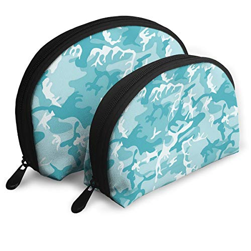 Makeup Bag Light Blue Camo Portable Shell Clutch Pouch For Mother Halloween Gift 2 Pack -