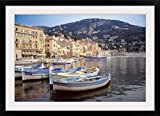 GreatBIGCanvas ''Boats anchored at Villefranche Harbor, French Riviera, France'' Photographic Print with Black Frame, 36'' x 24''