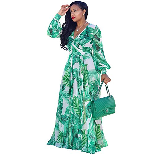 Nuofengkudu Womens Chiffon Deep V-Neck Printed Floral Maxi Dress Long Sleeves Waisted Belt Plus Size (Green) -