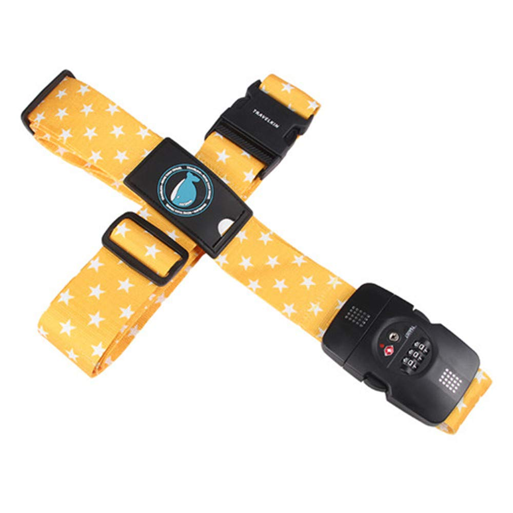 TSA 3-Digit Password Lock Adjustable Luggage Strap Travel Suitcase Band Belt Baggage Strap Fit for 20-32'' Suitcase (Yellow star) by SilverfishGLH