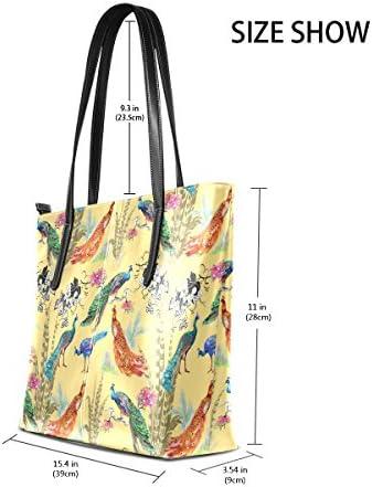 COOSUN Paons et Fleurs Pattern1 PU Bourse de Sac à bandoulière en Cuir et Sacs à Main Sac fourre-Tout pour Les Femmes Moyen muticolour