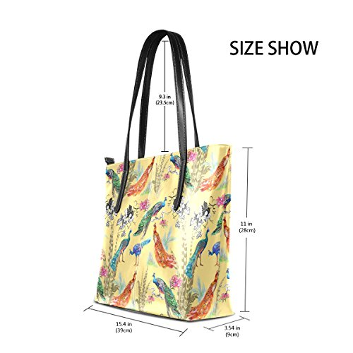Bag Peacocks Tote And For Pattern1 Purse And Flowers Muticolour Pu Means Shoulder Leather Bag Women Handbags Coosun d7zPW8gd