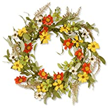 National Tree 20 Inch Floral Wreath with Red and Yellow Sunflowers (GAF30-20WSRL)