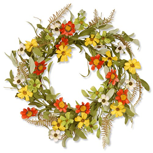 National Tree 20 Inch Floral Wreath with Red and Yellow Sunflowers (GAF30-20WSRL) by National Tree Company