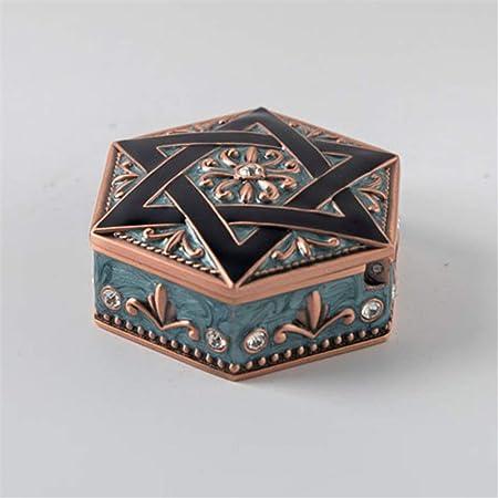 Cajas de joyería, caja de almacenamiento de joyería europea creativa vintage de metal Caja de regalo premium-C: Amazon.es: Hogar