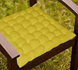 Lushomes Green Comfy Cotton Chair Cushion With 36 Knots & 4 Tie Backs