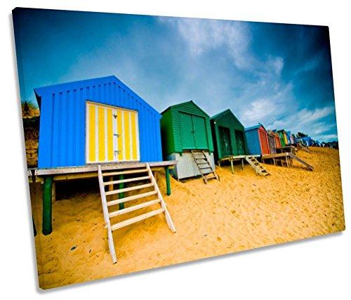 Canvas Geeks - Beach Huts Seaside Scene - 135cm wide x 90cm high SINGLE CANVAS WALL ART Picture - Seaside Huts