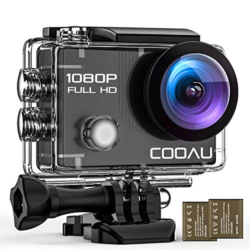COOAU 4K 20MP Wi-Fi Action Camera External Microphone Remote Control EIS Stabilization Underwater 40M Waterproof Sport Camera Time Lapse with 2X1200mAh Batteries and 20 Accessories (1080P Wi-Fi)