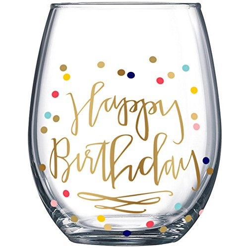 Happy Birthday Confetti Dots Stemless Wine Glass 20oz The Perfect Birthday Gift by Fine Occasion - Happy Birthday Cups