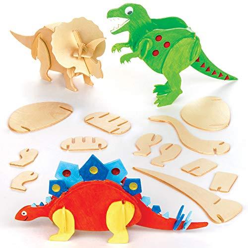 Kits de Dinosaurios de Madera para Diseñar Pintar y Decorar. Manualidades Creativas para Niños Fiestas Infantiles (Pack de 5)