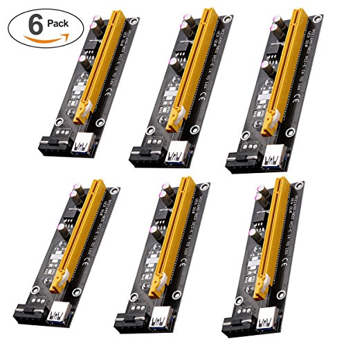 4gb Motherboard (PCI-E 1X to 16X Powered Riser Adapter Card w/ 60cm USB 3.0 Extension Cable 4pin MOLEX to SATA Power Cable - GPU Graphic Card Crypto Currency Mining ETH (6 Pack))