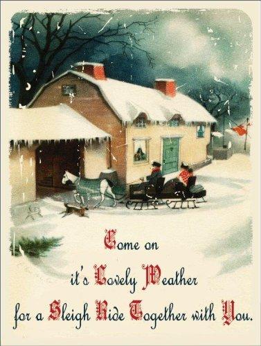 sleigh ride metal sign horse and sleigh vintage barn and farmhouse christmas decor